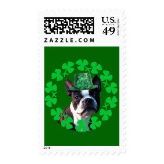 Béseme que soy irlandés Boston Terrier Sello