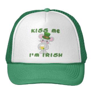 Béseme que soy irlandés con el ratón lindo gorro de camionero