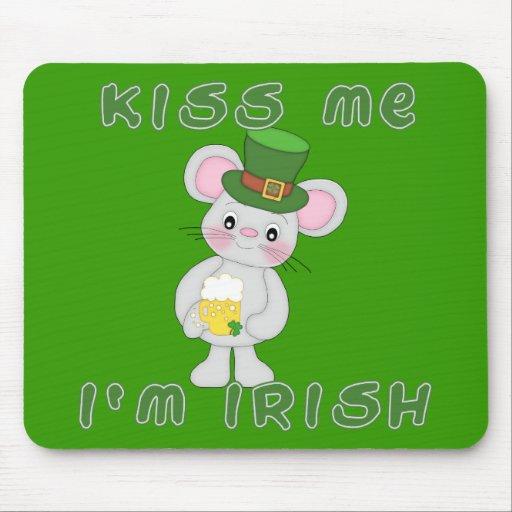 Béseme que soy irlandés con el ratón lindo alfombrilla de ratones