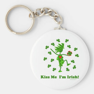 ¡Béseme que soy irlandés! Llavero Redondo Tipo Pin