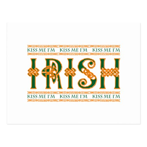 Béseme que soy irlandés tarjeta postal
