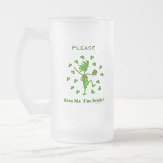 ¡Béseme que soy irlandés! Taza De Cristal