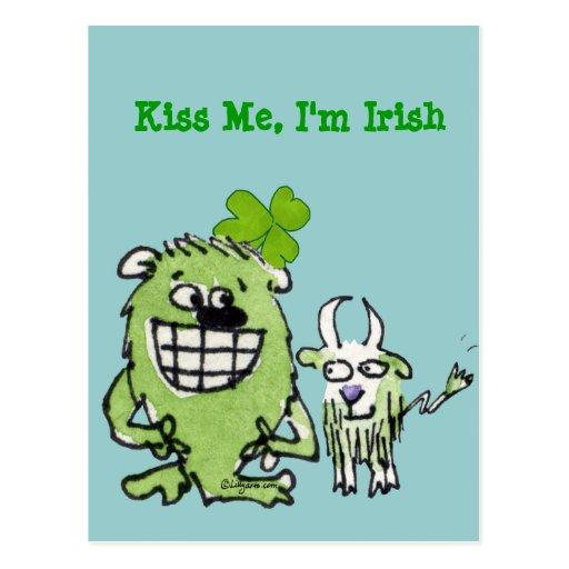 Béseme que soy postales divertidas irlandesas del