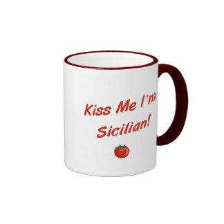 Béseme que soy siciliano taza de dos colores