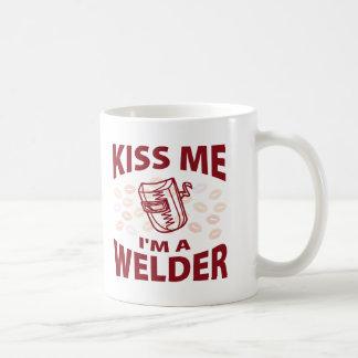 Béseme que soy soldador taza de café