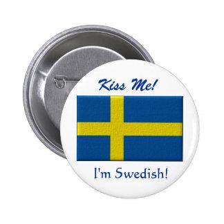 Béseme que soy sueco pin redondo de 2 pulgadas