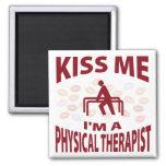 Béseme que soy terapeuta físico iman para frigorífico