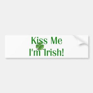 Béseme que soy trébol irlandés pegatina para auto
