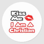 Béseme… que soy un cristiano etiqueta redonda