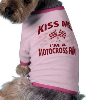 Béseme que soy un fan del motocrós camiseta con mangas para perro