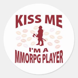 Béseme que soy un jugador de MMORPG Pegatina Redonda