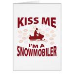 Béseme que soy un Snowmobiler Tarjeton