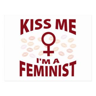 Béseme que soy una feminista tarjetas postales