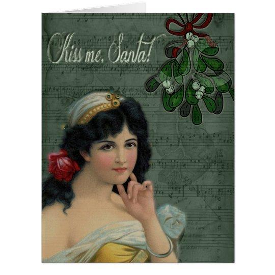 ¡Béseme, Santa! Tarjeta De Felicitación Grande