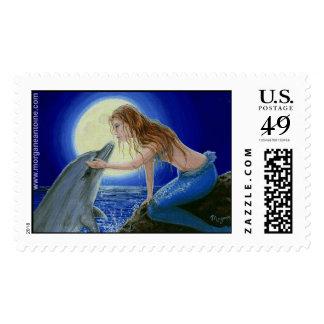 Béseme sello de la fantasía de la sirena y del