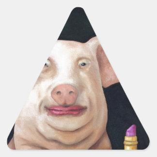 ¡Béseme usted tonto! Pegatina Triangular