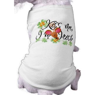 Béseme, yo son camiseta irlandesa del perro camisetas mascota