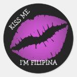 Béseme, yo son filipina etiqueta redonda
