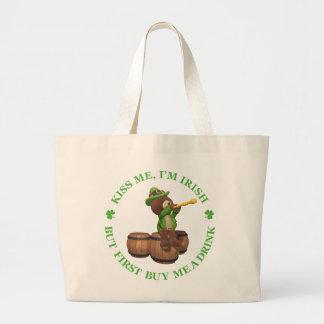 Béseme, yo son irlandés - solamente primera compra bolsa tela grande