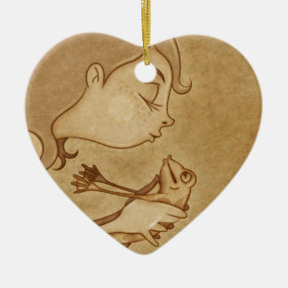 Beso 3 adorno navideño de cerámica en forma de corazón