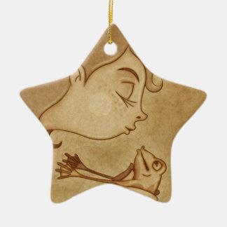 Beso 3 adorno navideño de cerámica en forma de estrella