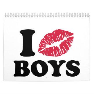 Beso a muchachos calendario de pared