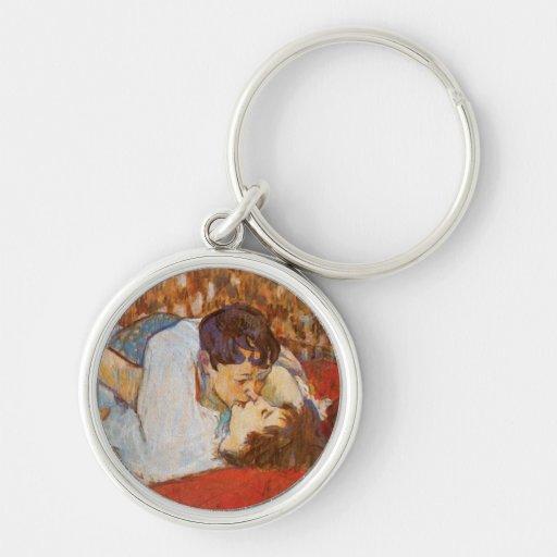 Beso de Enrique de Toulouse-Lautrec Llavero Redondo Plateado