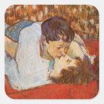 Beso de Enrique de Toulouse-Lautrec Calcomanía Cuadradas Personalizadas