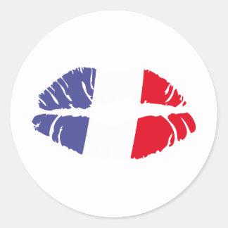 beso de Francia Pegatina Redonda