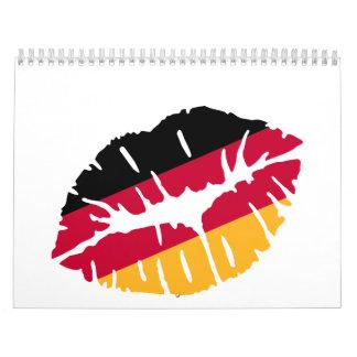 Beso de la bandera de Alemania Calendarios De Pared