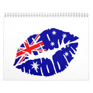 Beso de la bandera de Australia Calendarios De Pared