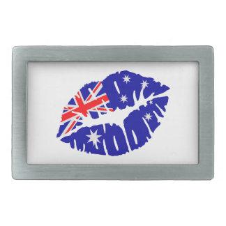 Beso de la bandera de Australia Hebilla De Cinturon Rectangular