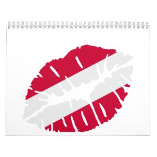 Beso de la bandera de Austria Calendario