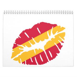Beso de la bandera de España Calendario