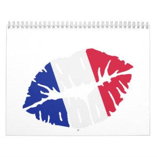 Beso de la bandera de Francia Calendario