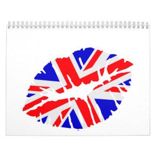 Beso de la bandera de Gran Bretaña Calendarios De Pared