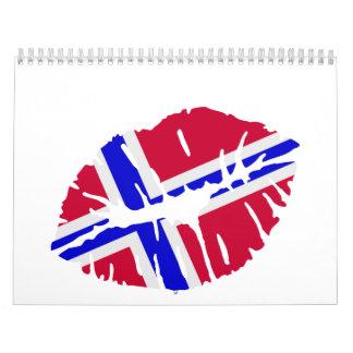 Beso de la bandera de Noruega Calendario De Pared