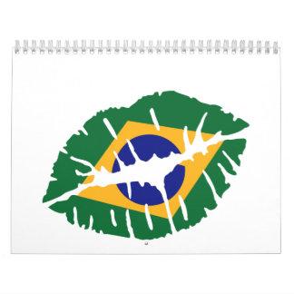 Beso de la bandera del Brasil Calendario De Pared