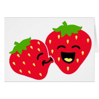 Beso de la fresa tarjeta de felicitación