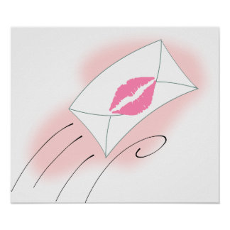beso de la letra de los labios del dibujo animado póster