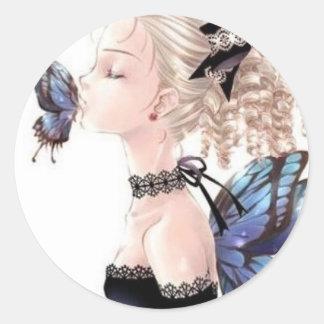 Beso de la mariposa, Daisey Van Diesel Pegatina Redonda