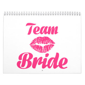 Beso de la novia del equipo calendario de pared