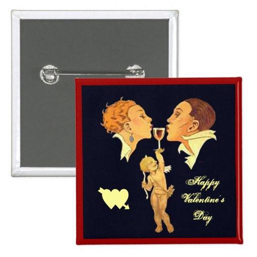 beso de la tarjeta del día de San Valentín de los  Pin Cuadrada 5 Cm