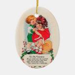 Beso de la tarjeta del día de San Valentín del Adorno Navideño Ovalado De Cerámica