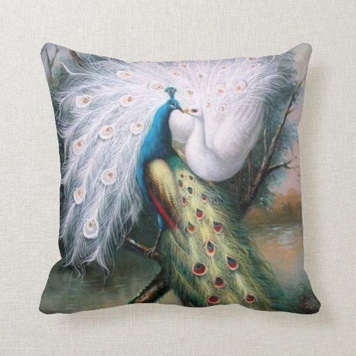 Beso de los pavos reales del vintage almohada