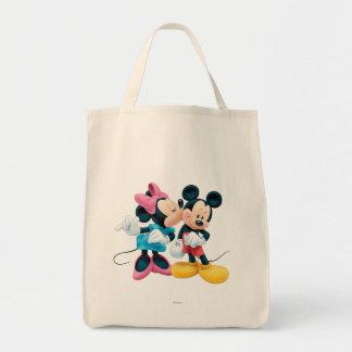 Beso de Mickey y de Minnie el | en mejilla Bolsa Tela Para La Compra