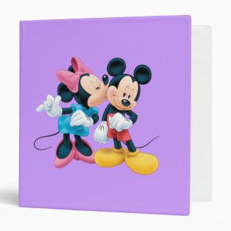 """Beso de Mickey y de Minnie el   en mejilla Carpeta 1 1/2"""""""