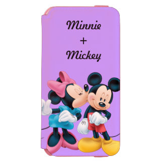 Beso de Mickey y de Minnie el   en mejilla Funda Billetera Para iPhone 6 Watson