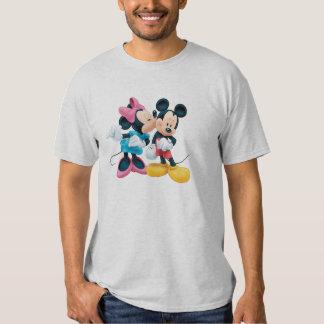 Beso de Mickey y de Minnie el | en mejilla Playeras