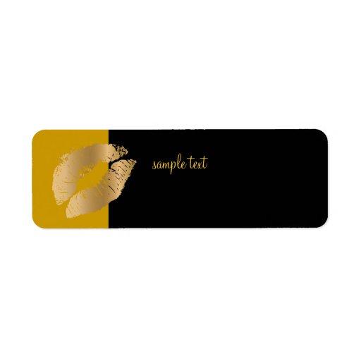 Beso de oro+ Oro negro Etiqueta De Remite